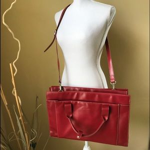 Laptop Bag Satchel Red Smooth Leather Look
